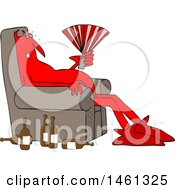 Clipart Of A Cartoon Hot Chubby Red Devil Sitting In A Chair With A Fan And Bottles On The Floor Royalty Free Vector Illustration