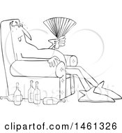 Cartoon Black And White Hot Chubby Devil Sitting In A Chair With A Fan And Bottles On The Floor