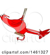 Clipart Of A Cartoon Chubby Red Devil Swinging Royalty Free Vector Illustration by djart