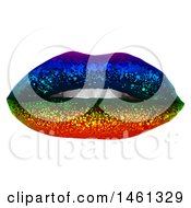 Clipart Of A Pair Of Rainbow Glitter Lips Royalty Free Vector Illustration by dero