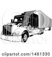 Clipart Of A Black And White Big Rig Truck With A Flame Paint Job Royalty Free Vector Illustration
