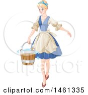 Clipart Of Cinderella Carrying A Cleaning Bucket Royalty Free Vector Illustration