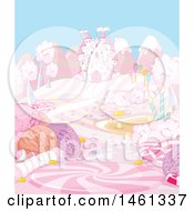 Clipart Of A Pink Castle In A Candy Landscape Royalty Free Vector Illustration