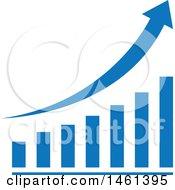 Poster, Art Print Of Blue Arrow And Bar Graph Design