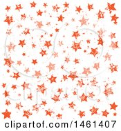 Clipart Of A Grungy Orange Starry Pattern Background Royalty Free Vector Illustration