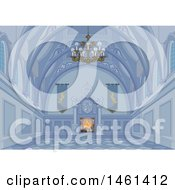 Clipart Of A Blue Medieval Palace Interior With A Fire Royalty Free Vector Illustration