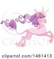 Clipart Of A Leaping Pink Unicorn With Long Purple Hair Royalty Free Vector Illustration