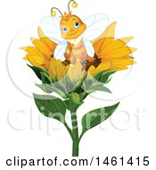 Clipart Of A Cute Queen Bee Sitting On A Sunflower Royalty Free Vector Illustration by Pushkin