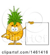 Male Pineapple Mascot Character Pointing To A Blank Sign
