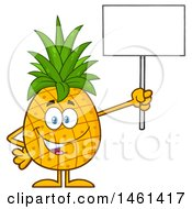 Male Pineapple Mascot Character Holding Up A Blank Sign
