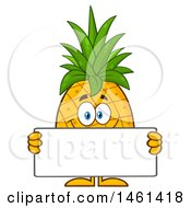 Male Pineapple Mascot Character Holding A Blank Sign