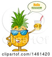 Clipart Of A Male Pineapple Mascot Character Wearing Sunglasses Saying Hello Summer And Holding Juice Royalty Free Vector Illustration