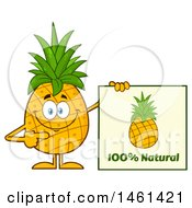 Clipart Of A Male Pineapple Mascot Character Holding A Natural Sign Royalty Free Vector Illustration