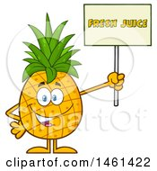 Clipart Of A Male Pineapple Mascot Character Holding A Fresh Juice Sign Royalty Free Vector Illustration