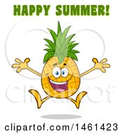 Clipart Of A Male Pineapple Mascot Character Jumping Under Happy Summer Text Royalty Free Vector Illustration