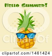 Clipart Of A Pineapple Wearing Sunglasses Under Hello Summer Text Royalty Free Vector Illustration