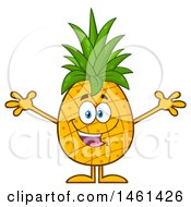 Clipart Of A Male Pineapple Mascot Character With Open Arms Royalty Free Vector Illustration