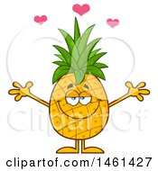 Clipart Of A Loving Male Pineapple Mascot Character With Open Arms Royalty Free Vector Illustration