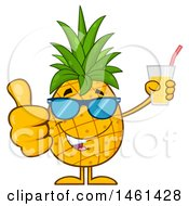 Clipart Of A Male Pineapple Mascot Character Wearing Sunglasses Giving A Thumb Up And Holding Juice Royalty Free Vector Illustration