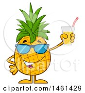 Clipart Of A Male Pineapple Mascot Character Wearing Sunglasses And Holding Juice Royalty Free Vector Illustration