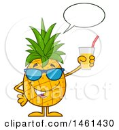 Clipart Of A Male Pineapple Mascot Character Wearing Sunglasses Talking And Holding Juice Royalty Free Vector Illustration