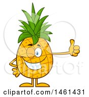 Clipart Of A Male Pineapple Mascot Character Winking And Giving A Thumb Up Royalty Free Vector Illustration
