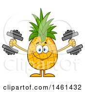Clipart Of A Male Pineapple Mascot Character Working Out With Dumbbells Royalty Free Vector Illustration