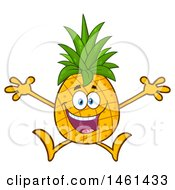 Clipart Of A Male Pineapple Mascot Character Jumping Royalty Free Vector Illustration