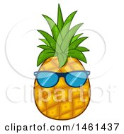 Clipart Of A Pineapple Wearing Sunglasses Royalty Free Vector Illustration