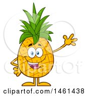 Clipart Of A Male Pineapple Mascot Character Waving Royalty Free Vector Illustration