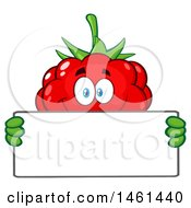 Clipart Of A Raspberry Mascot Character Holding A Blank Sign Royalty Free Vector Illustration by Hit Toon