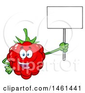 Raspberry Mascot Character Holding Up A Blank Sign