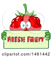 Clipart Of A Raspberry Mascot Character Holding A Fresh Fruit Sign Royalty Free Vector Illustration by Hit Toon