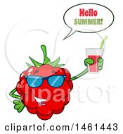 Clipart Of A Raspberry Mascot Character Wearing Sunglasses Saying Hello Summer And Holding A Glass Of Juice Royalty Free Vector Illustration by Hit Toon