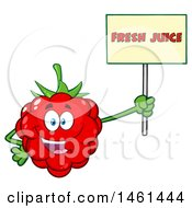 Clipart Of A Raspberry Mascot Character Holding A Fresh Juice Sign Royalty Free Vector Illustration by Hit Toon