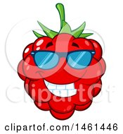 Clipart Of A Raspberry Mascot Character Wearing Sunglasses Royalty Free Vector Illustration by Hit Toon