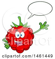 Clipart Of A Raspberry Mascot Character Talking And Waving Royalty Free Vector Illustration by Hit Toon