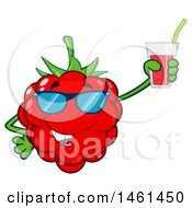 Clipart Of A Raspberry Mascot Character Wearing Sunglasses And Holding A Glass Of Juice Royalty Free Vector Illustration by Hit Toon
