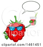 Clipart Of A Raspberry Mascot Character Wearing Sunglasses Talking And Holding A Glass Of Juice Royalty Free Vector Illustration by Hit Toon