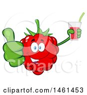 Clipart Of A Raspberry Mascot Character Giving A Thumb Up And Holding A Glass Of Juice Royalty Free Vector Illustration by Hit Toon