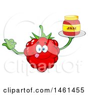 Clipart Of A Raspberry Mascot Character Gesturing Ok And Holding A Jar Of Jam Royalty Free Vector Illustration by Hit Toon