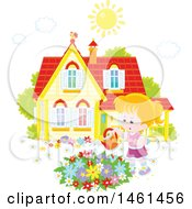 Clipart Of A Happy Caucasian Girl Watering A Flower Garden On A Summer Day Royalty Free Vector Illustration