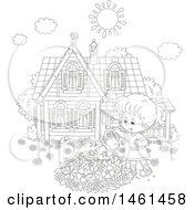 Clipart Of A Black And White Happy Girl Watering A Flower Garden On A Summer Day Royalty Free Vector Illustration