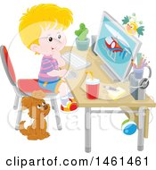 Blond White Boy Using A Desktop Computer