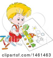 Cartoon Happy Blond Caucasian Boy Coloring A Page Of A House