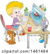 Cartoon Happy Blond Caucasian Boy Using A Desktop Computer