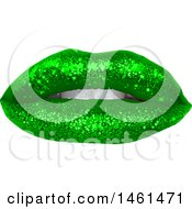 Womans Mouth With Green St Patricks Day Themed Sparkly Glitter Lipstick