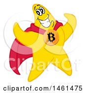 Clipart Of A Cartoon Strong Star Super Hero Flexing And Wearing A Bitcoin Royalty Free Vector Illustration by LaffToon
