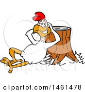 Clipart Of A Cartoon Relaxed Chicken Leaning Back Against A Stump Royalty Free Vector Illustration