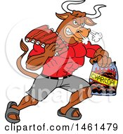 Clipart Of A Cartoon Muscular Bull Carrying Bbq Ribs And Charcoal Royalty Free Vector Illustration